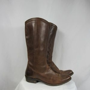 Frye Brown Leather Tall Pull On Riding Boots 7.5